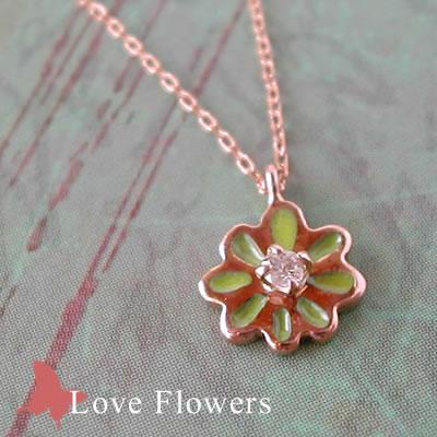 お花のダイヤプチネックレスLove Flowers黄緑
