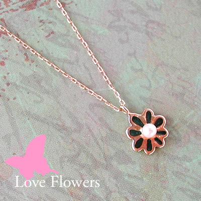 お花のアコヤ真珠プチネックレスLove Flowers深緑色